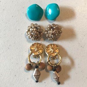 Bundle of vintage clip on earrings